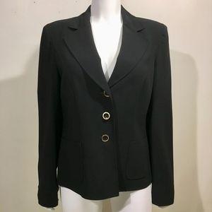 Escada Black Wool Blazer 3 Button Career Jacket
